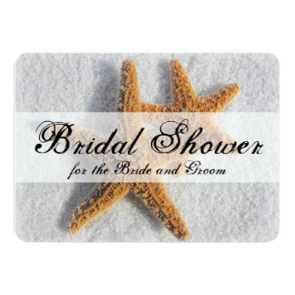 Starfish Sand Beach Couples His/Hers Bridal Shower 4.5x6.25 Paper Invitation Card