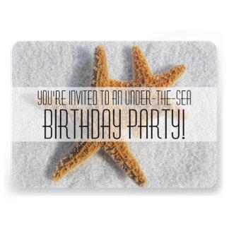 Starfish Sand Beach Ocean Theme Birthday Party Custom Invites