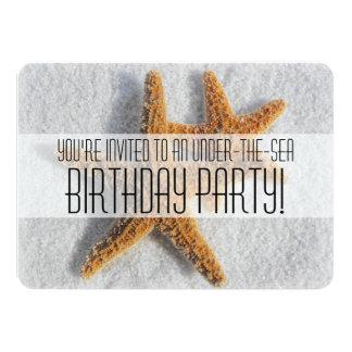 "Starfish Sand Beach Ocean Theme Birthday Party 4.5"" X 6.25"" Invitation Card"