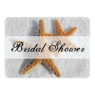 Starfish Sand Beach Ocean Theme Bridal Shower 4.5x6.25 Paper Invitation Card
