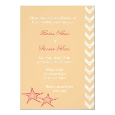 Beach Themed Starfish, Sand Beach Summer Wedding Invites