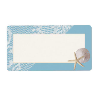 Starfish Sand Dollar and Lace Blue Shipping Label