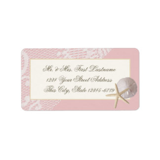 Starfish Sand Dollar and Lace Pink Label