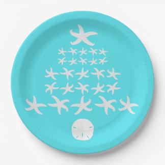 Starfish Sand Dollar Aqua Tropical Christmas Paper Plate