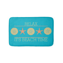 Starfish Sand Dollar Beach yellow orange turquoise Bath Mat