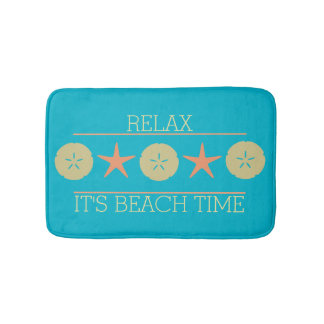 Starfish Sand Dollar Beach yellow orange turquoise Bath Mat