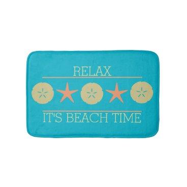 Beach Themed Starfish Sand Dollar Beach yellow orange turquoise Bath Mat