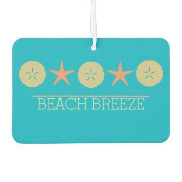Beach Themed Starfish Sand Dollar Beach yellow orange turquoise Car Air Freshener