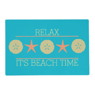 Starfish Sand Dollar Beach yellow orange turquoise Laminated Placemat