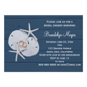 Starfish Sand Dollar Bridal Shower Invitations