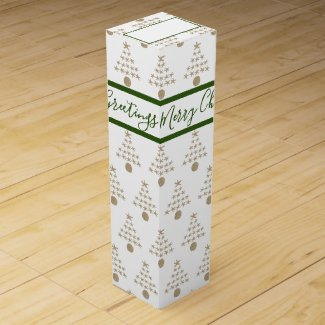 Starfish Sand Dollar Christmas Trees Pattern Wine Box