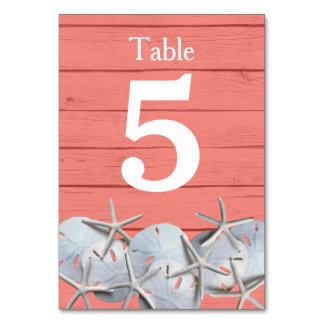 Starfish Sand Dollar Wedding Table Number Cards