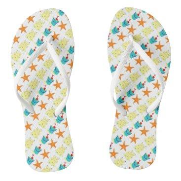 Beach Themed Starfish Sandcastle Sand Pail Summer Beach Print Flip Flops