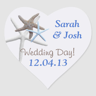 Starfish Save the Date Heart-Shaped Stickers