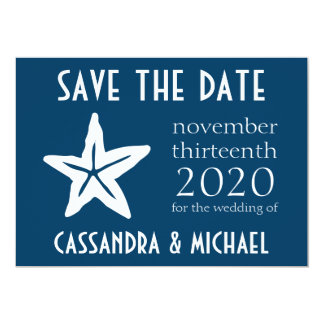 Starfish Save The Date (Navy Blue) Card