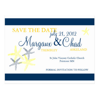 Starfish Save the Date Postcard