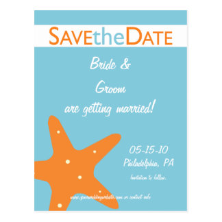 Starfish Save the Date Post Cards