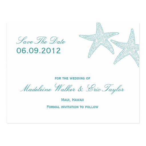 Starfish Save The Date Postcard - Turquoise Post Card