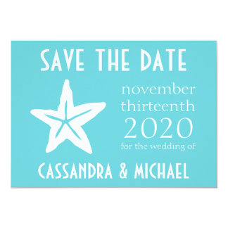 Starfish Save The Date (Teal) Card