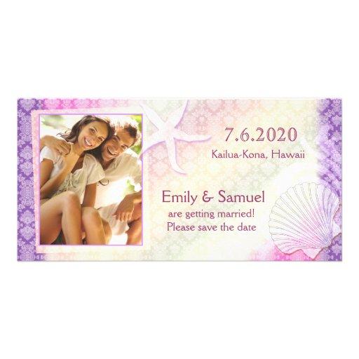 Starfish + Sea Shell Beach Save the Date Photocard Photo Card Template