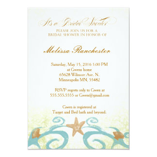 Starfish Sea Shell Bridal shower invitation