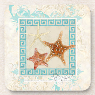 Starfish Sea Shells Ocean Greek Key Pattern Beach Beverage Coaster