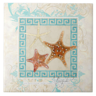 Starfish Sea Shells Ocean Greek Key Pattern Beach Ceramic Tile
