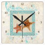 Starfish Sea Shells Ocean Greek Key Pattern Beach Clocks