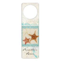 Starfish Sea Shells Ocean Greek Key Pattern Beach Door Hanger