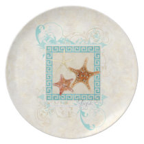 Starfish Sea Shells Ocean Greek Key Pattern Beach Plate