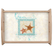 Starfish Sea Shells Ocean Greek Key Pattern Beach Serving Tray