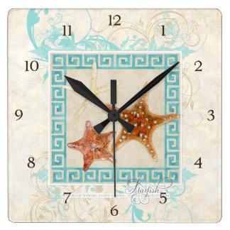 Starfish Sea Shells Ocean Greek Key Pattern Beach Square Wall Clock