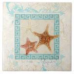Starfish Sea Shells Ocean Greek Key Pattern Beach Tile