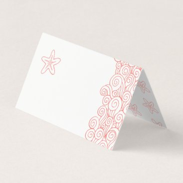 Beach Themed Starfish sea waves coral beach guest place cards