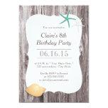 Starfish & Seashell Beach Driftwood Birthday Party 5x7 Paper Invitation Card