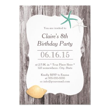myinvitation Starfish & Seashell Beach Driftwood Birthday Party Card