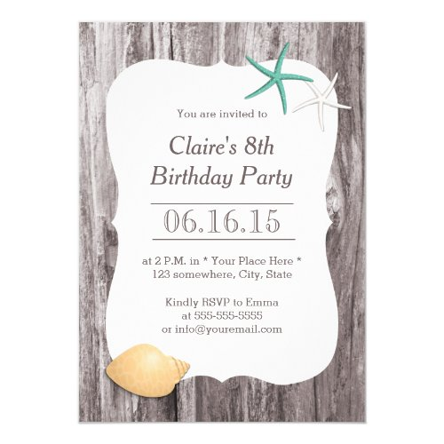 Starfish & Seashell Beach Driftwood Birthday Party Invitation