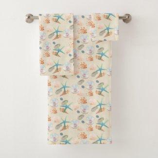 Starfish Seashell Watercolor Pastel Bath Towels