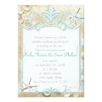 Starfish & Seashells Beach Wedding Invitations
