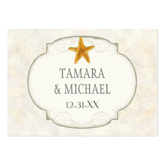 Starfish Shell Ocean Striped Pattern Damask Beach Business Card Templates