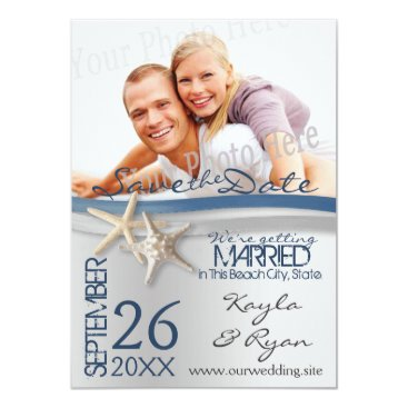 Beach Themed Starfish Silver and Blue Ribbon Save the Date Card