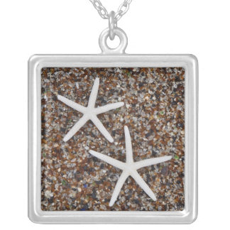 Starfish skeletons on Glass Beach Silver Plated Necklace