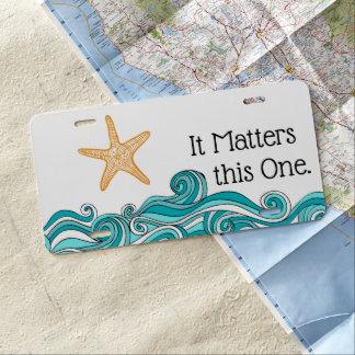 Starfish Story Custom Adoption Gift License Plate
