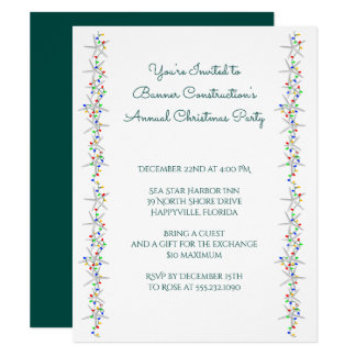 Starfish String of Lights Border Christmas Party Card