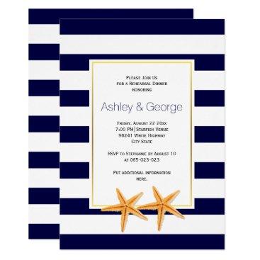 Beach Themed Starfish & stripes beach wedding rehearsal dinner card