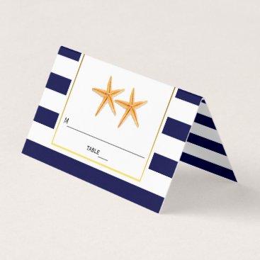 Beach Themed Starfish & stripes navy blue wedding folded escort place card