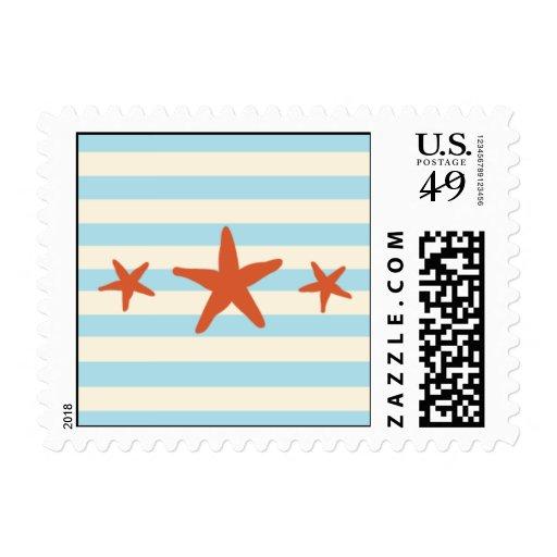 Starfish Stripes Postage Stamp