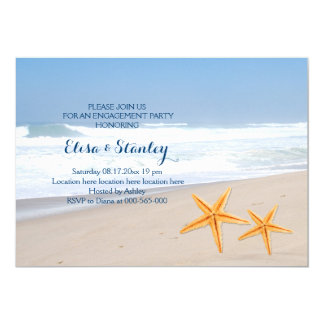 Starfish summer beach wedding engagement party card