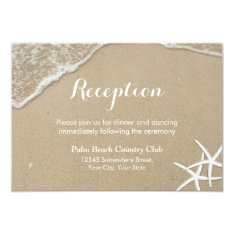 Starfish Summer Beach Wedding Reception Card at Zazzle