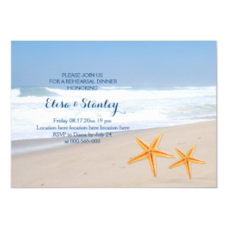 Starfish summer beach wedding rehearsal dinner card